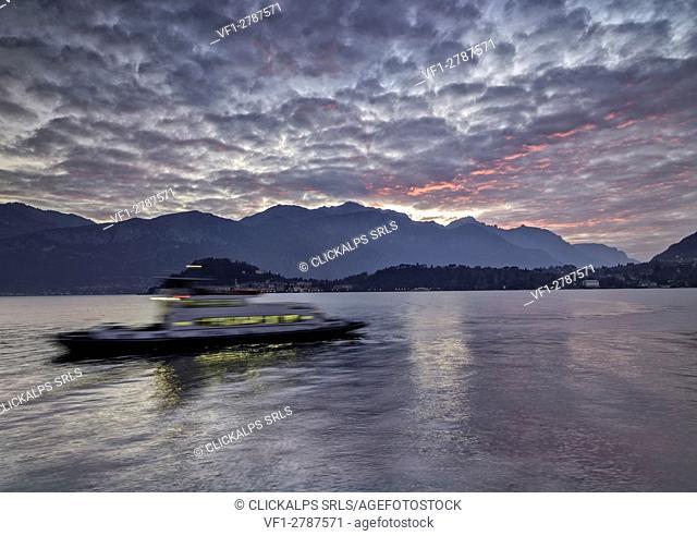 Italy, Lombardy, Como district. Como Lake, tremezzina, ferry boat