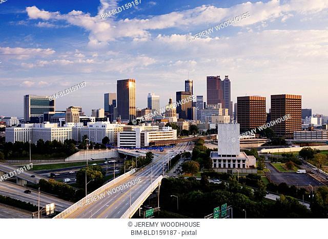 Highway to Atlanta cityscape, Georgia, United States