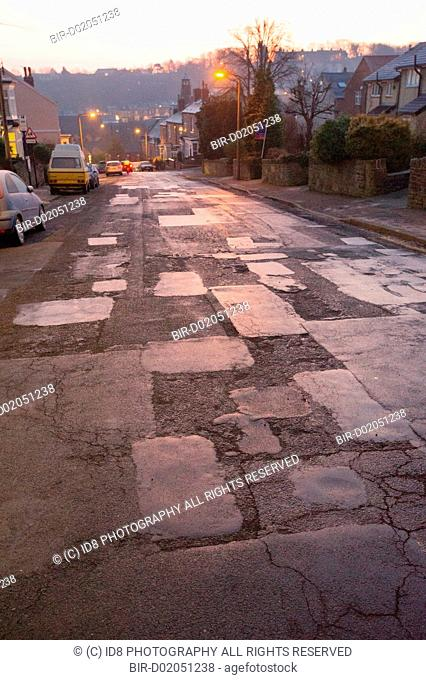 Potholes and patching on Greystones Road, Sheffield