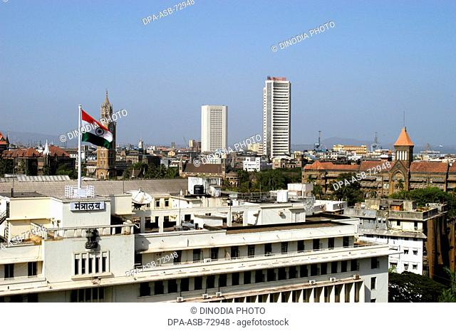 Top angle of Mantralaya building , Also seen in the background Rajabai Tower , RBI building , Bombay Stock Exchange and Bombay High Court , Bombay Mumbai