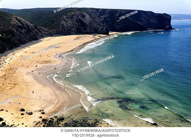 Europe, Portugal, Algarve, Faro district, Aljezur, close to Sagres, Praia da Arrifana - Arrifana beach, Costa Vicentina, Vicentine Coast Natural Park