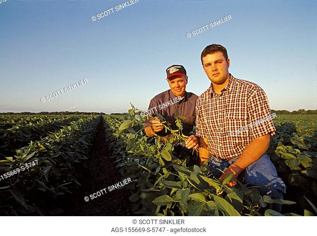 Agriculture - A farmer and his son pose while inspecting their mid growth soybean crop in late afternoon light / South Central TX