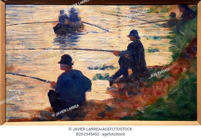 Les Pêcheurs à la ligne, étude pour la Grande Jatte, 1883, Georges Pierre Seurat, Musée d'Art Moderne, Troyes, Champagne-Ardenne Region, Aube Department, France