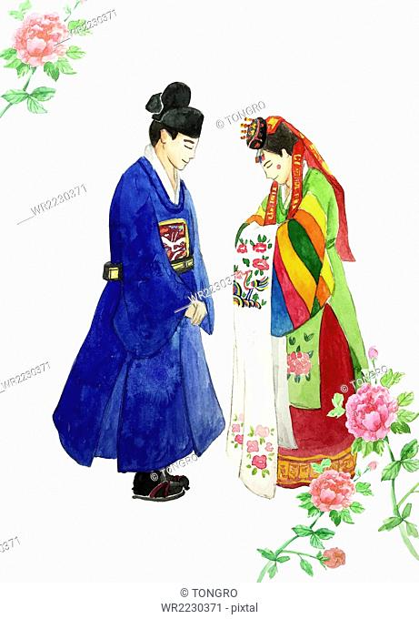 Korean traditional marriage in watercolor illustration