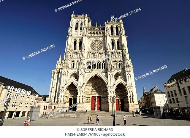 France, Somme, Amiens, Notre Dame Cathedral of Amiens listed as World Heritage by UNESCO, the cathedral facade with its three gates and two towers