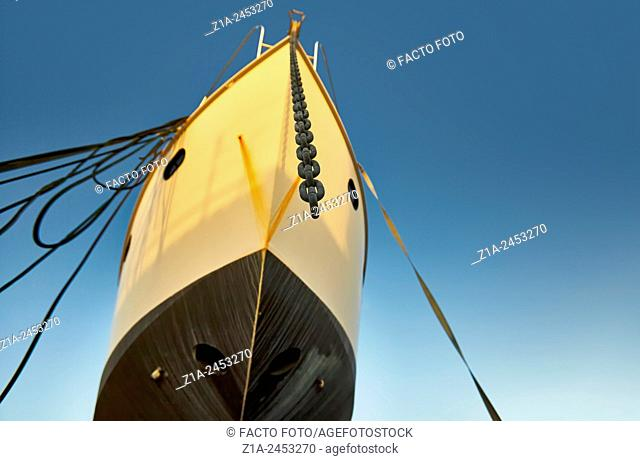 Frontal view of a ship being repaired at the harbour. Denia. Alicante. Valencia Community. Spain