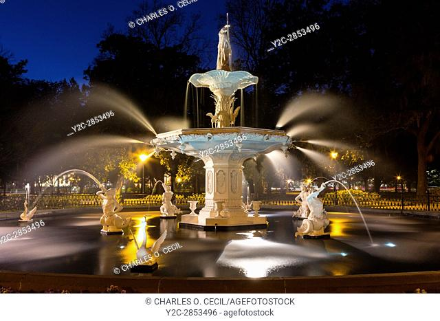 Savannah, Georgia. Forsyth Park Fountain at Night