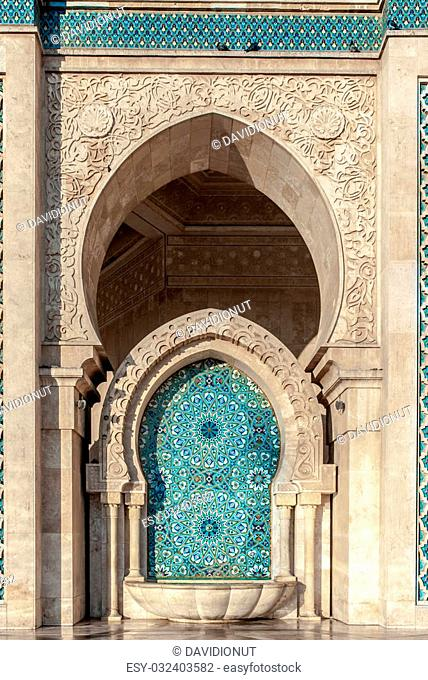 Detail of Mosque of Hassan II in Casablanca , Morocco. Typical mosaic