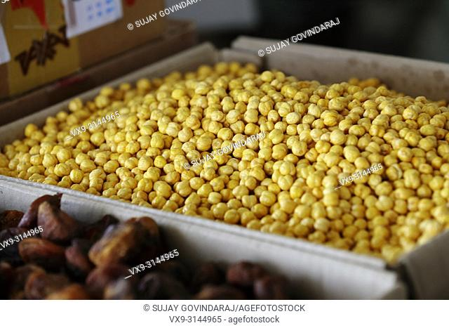 Close-up shot of a pile of chick peas