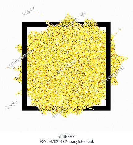 Gold glitter texture form design element and square frame isolated over white background. Abstract golden sparkles of confetti. Vector illustration