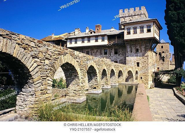 Stavronikita Monastery and Aqueduct Mount Athos Greece