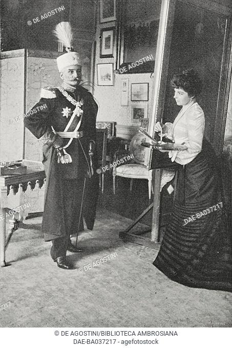 King Peter I of Serbia (1844-1921) posing for the painter Vilma Lwoff-Parlaghy in the Konak in Belgrade, November 8, 1903, Serbia, photograph by Parkson