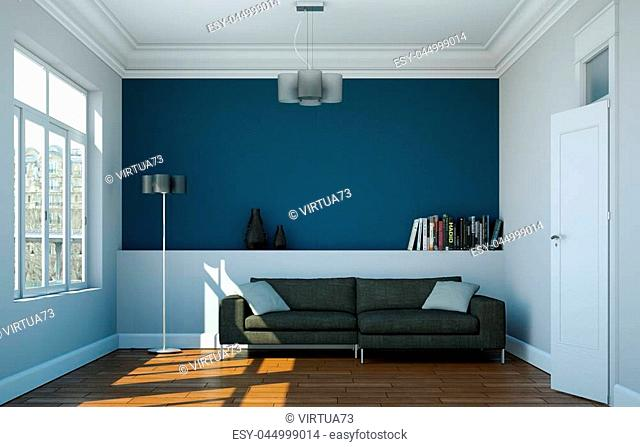 Modern bright room interior design with sofa and blue wall 3d Illustration