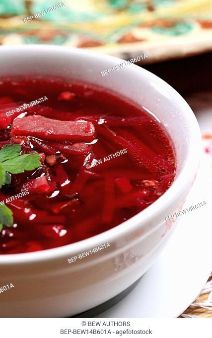 Ukrainian red borscht soup