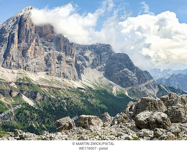 The Tofane from south. The Tofane are part of the UNESCO world heritage the dolomites. Europe, Central Europe, Italy