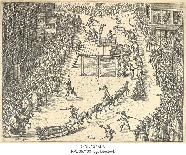 The Gunpowder Plot conspirators being taken to execution. Image taken from Warhafftige Beschreibung der Verratherey so jemals erhort worden