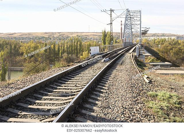 Rails running on a railway bridge across the Volga-Don canal, Volgograd