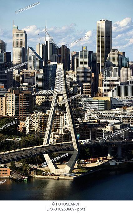 Aerial view of Anzac Bridge and buildings in Sydney, Australia