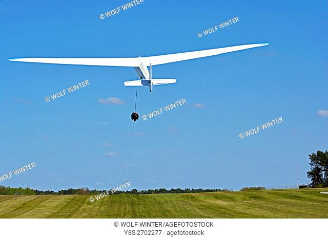 At the airfield of the Gifhorn Gliding Club, Wilsche, Gifhorn, Germany