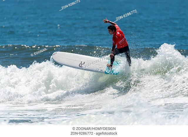 GAIA, PORTUGAL - JUNE 10: Piccolo Clemente (PER) at LQS Longboard Pro Gaia Men's Longboard Tour #3
