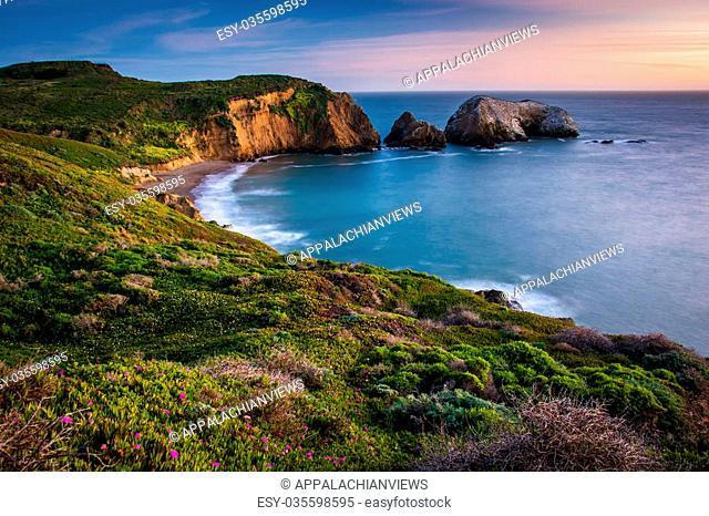 Sunset view of Rodeo Beach, at Golden Gate National Recreation Area, in San Francisco, California
