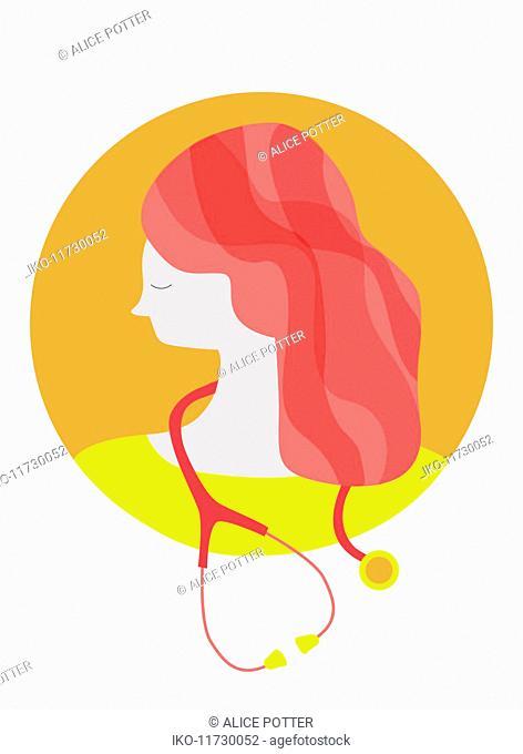 Portrait of woman doctor wearing stethoscope