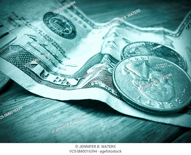 American money close-up, green tone