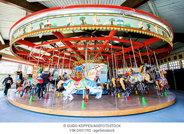 New York, USA. Carousel turning in South Central Park, Manhattan