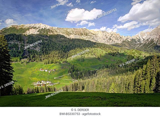hamlets on mountain slope of Sasso di Santa Croce, Italy, South Tyrol, Dolomites