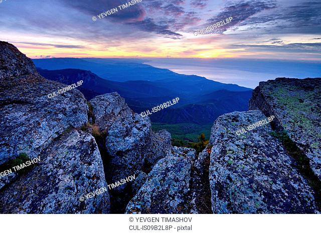 View of mountains at dawn from South Demergi mountain, Crimea, Ukraine