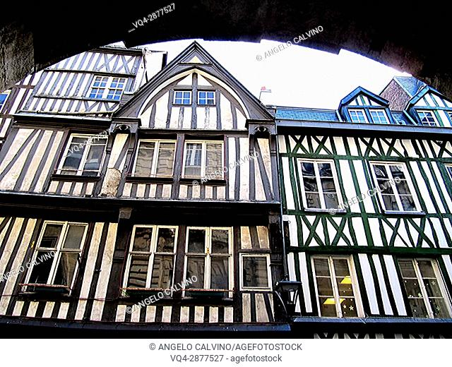 half timbered norman facades, Rouen, Normandy, france