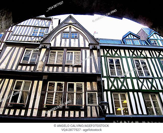 half timbered norman facades, Rouen, Normandy, france