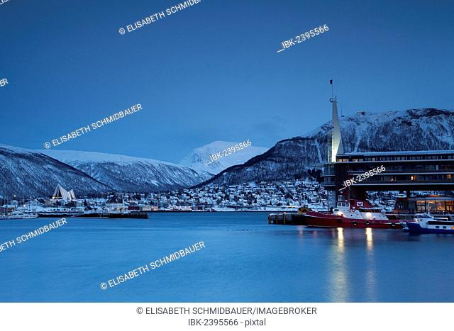 Port of Tromso in winter, Tromso, Norway, Europe