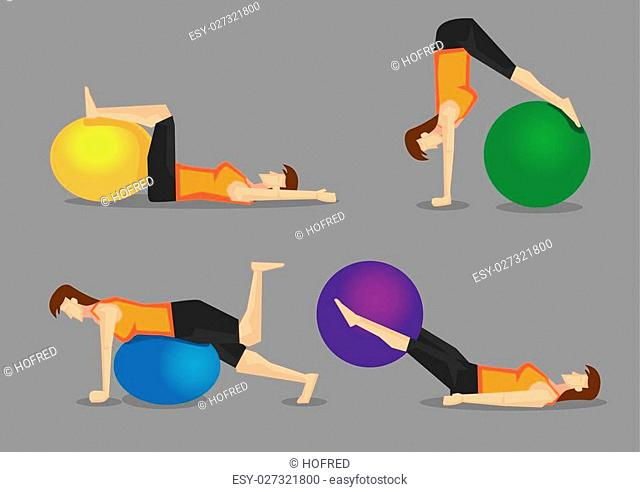 Set of four vector illustration of woman using colorful gym ball for core strengthening exercises isolated on plain grey background