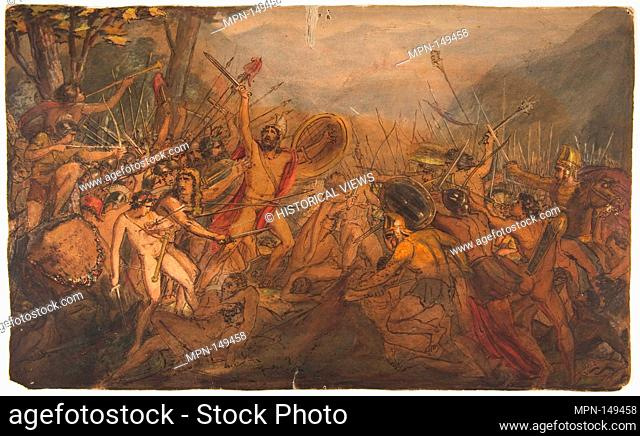 Battle Scene. Artist: François Joseph Heim (French, Belfort 1787-1865 Paris); Date: 19th century; Medium: Pen and watercolor on paper; Dimensions: 11 5/8 x 19...