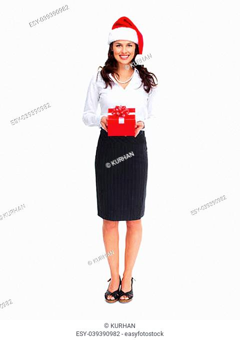Santa helper christmas girl with gift isolated on white background