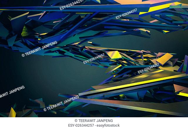 Abstract 3d rendering of chaotic structure. Dark background with futuristic shape in empty space
