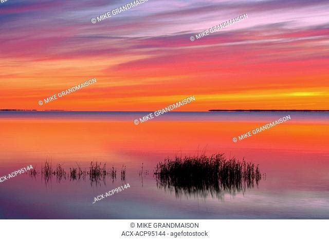Marsh leading into Lake Winnipeg at sunrise Hecla Provincial Park Manitoba Canada