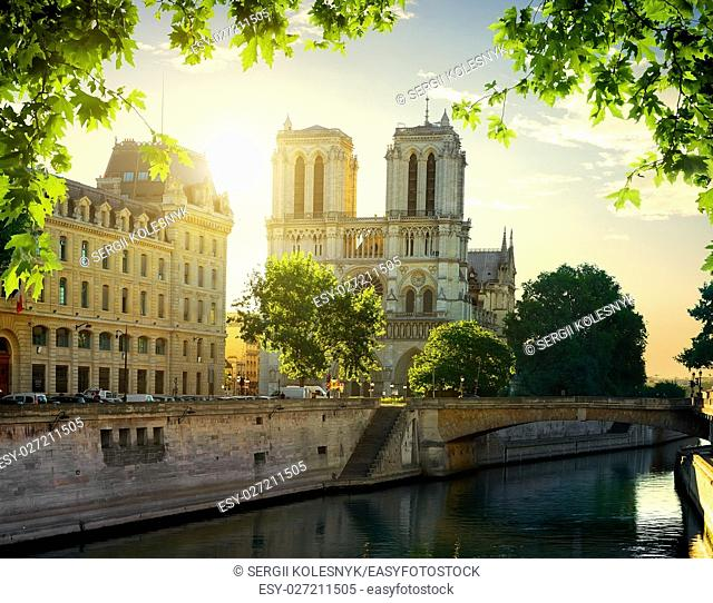 Notre Dame cathedral at dawn. Paris, France