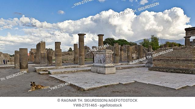 Ruins in the Roman site of Pompeii, Campania, Italy