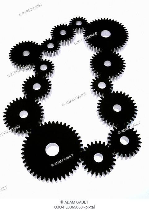 Group of cogs in circle