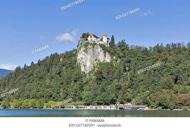 Medieval castle overlooking the Bled Lake in Slovenia. One of the picturesque sites of the nation