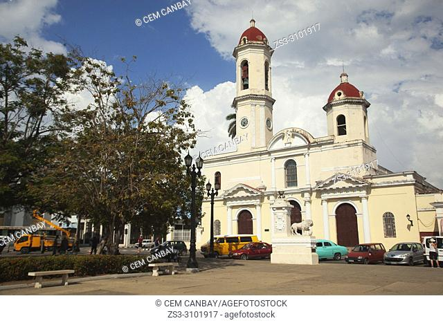 Scene from the Joe Marti park with the the Purisima Concepcion Cathedral at the background in the city center, Cienfuegos, Cuba, West Indies, Central America