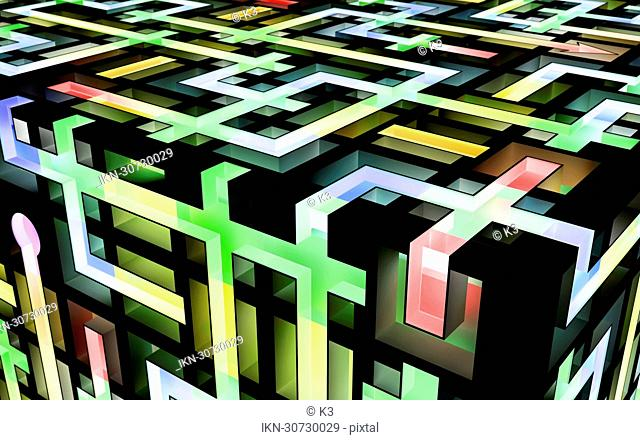 Geometric lines forming cube maze