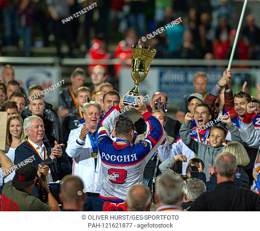 Award ceremony, the Russian team around Vladimir Sosnitsky, with cup. GES / Motoball / European Championship, Final: Germany - Russia, 22.06.2019