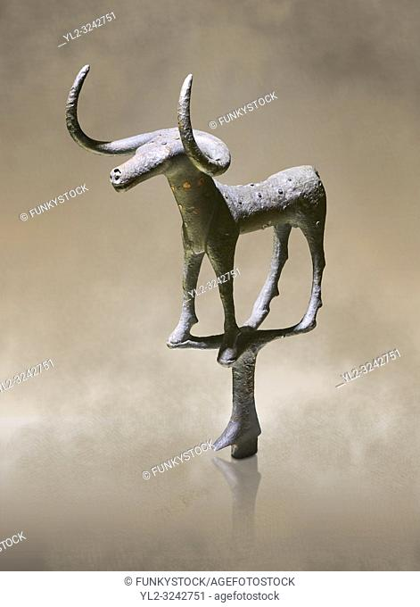 Bronze Age Hattian ceremonial bull statuette in bronze from a possible Bronze Age Royal grave (2500 BC to 2250 BC) - Alacahoyuk - Museum of Anatolian...