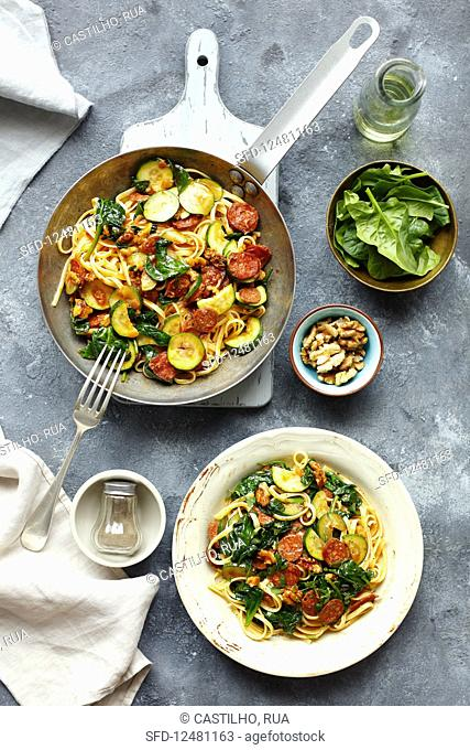 Pasta with chorizo, courgette and spinach