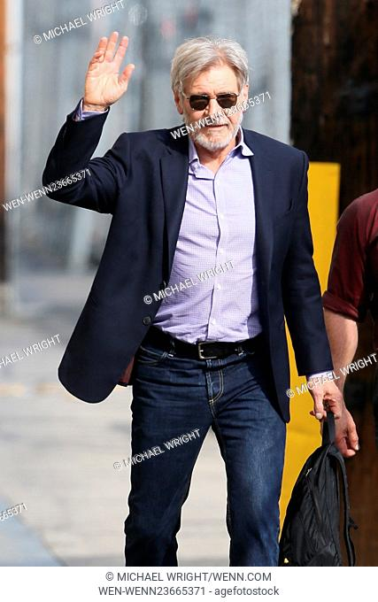 Harrison Ford seen arriving at the ABC studios for 'Jimmy Kimmel Live!' Featuring: Harrison Ford Where: Los Angeles, California