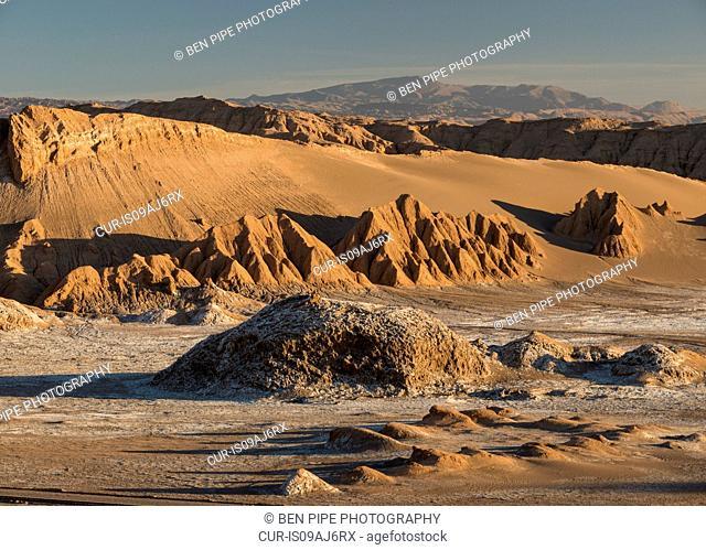 View from Sand Dune (Duna Mayor) at dawn, Valle de la Luna (Valley of the Moon), Atacama Desert, El Norte Grande, Chile