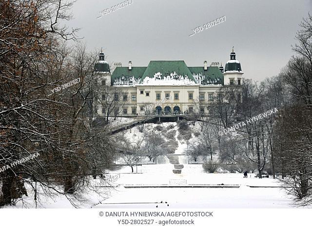 Baroque-Neoclassical Ujazdow Castle - Zamek Ujazdowski - seen from the Royal Canal in winter, in historic Ujazdow district between Ujazdow Park - Park...